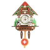 Classic Cuckoo Wooden Wall Hanging Chic Swing Clock Alarm Cow Dog Kid Home Decor