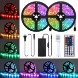 10M LED Strip Light Kit SMD5050 Waterproof RGB Flexible Lamp with 44 Key IR Remote RGB Controller + 12V 5A Power Supply