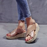 Women Plus Size Espadrille Cross Belt Open Toe Hook Loop Summer Beach Wedge Sandals
