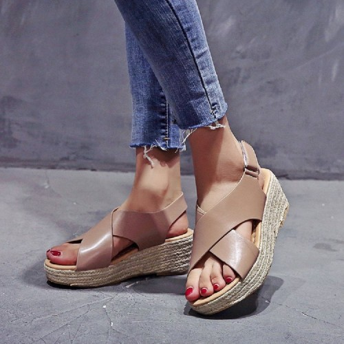 Women Plus Size Espadrille Cross Belt Open Toe Hook Loop Summer Beach Wedge Sandals