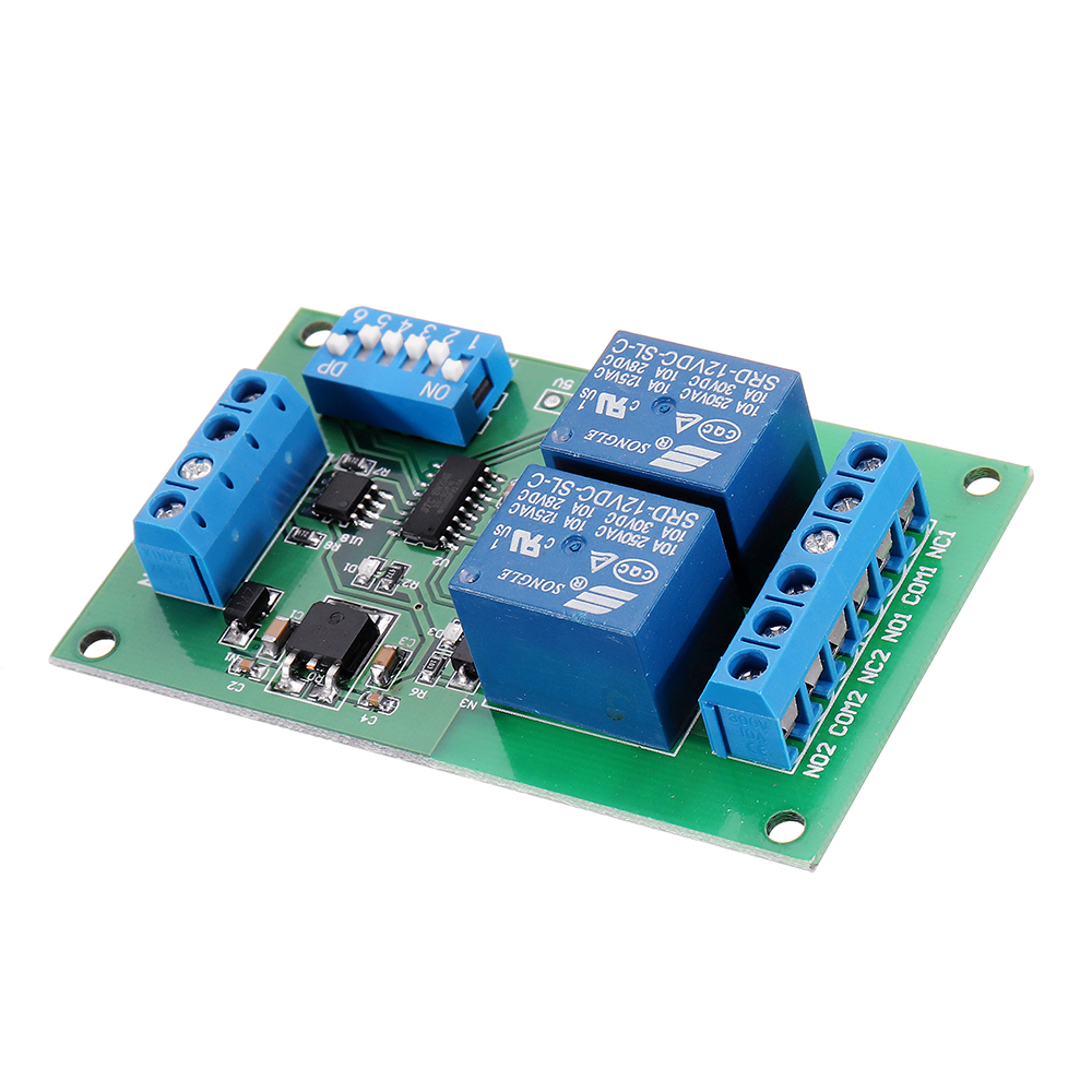 2 Channel RS485 Relay Board UART Serial Port Switch Module Modbus Remote Control for PLC Smart Home DC12V