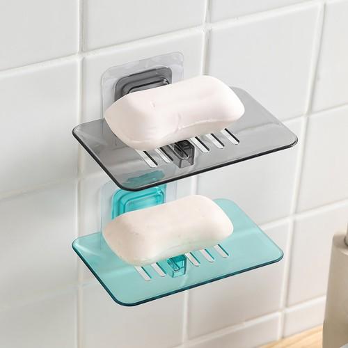 Wall Mounted Soap Dish Drain Soap Holder Storage Rack Bathroom Plate Case Organizer Hanging Soap Box