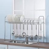 64/74/84/94CM Stainless Steel Kitchen Rack Dish Drain Shelf Drying Holder Over Sink