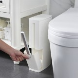 3 In 1 Multifunction Bathroom Trash Can Garbage Waste Bins Kitchen Waste Basket with Toilet Brush Garbage Bag Holder Waste Dustbin for Home Office Room