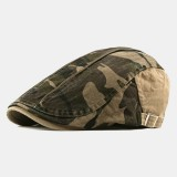 Camo Beret Hat Fashion Washed Cap Universal Forward Cap Beret Caps