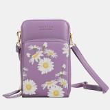 Women Daisy Clutch Bag Card Bag Phone Bag Crossbody Bag