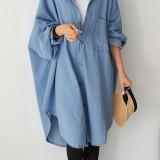 Women Batwing Sleeve Casual Loose Hooded Long Shirt Coats