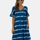 Tie Dye Print V-neck Short Sleeve Shirt Mini Dress