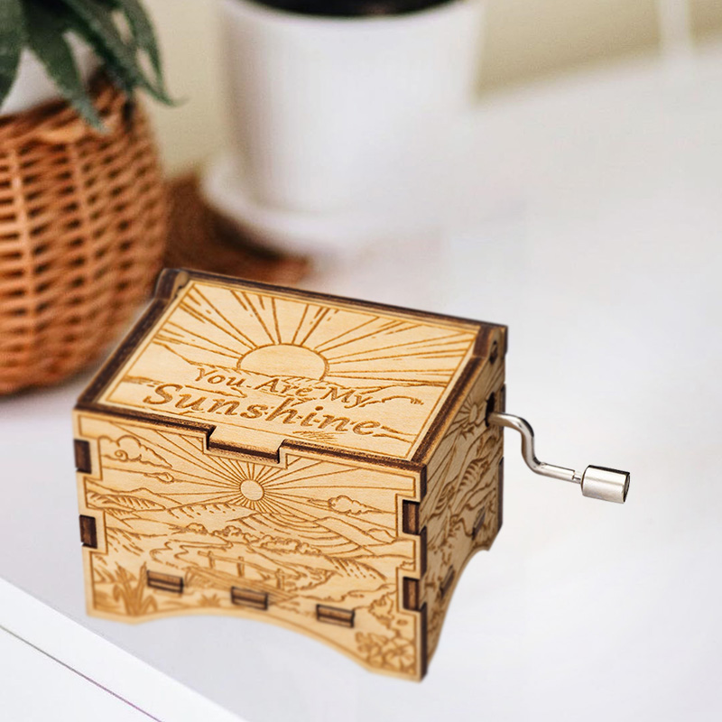 YOU ARE MY SUNSHINE Hand Cranked Operated Wood Music Wooden Box Kids Gift