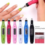 1Set Electric Nail Kit Nail Tips Manicure Machine Electric Nail Art Set Pen Pedicure 6 Bits Nail Art Tools Kit suit for 2.35mm drill