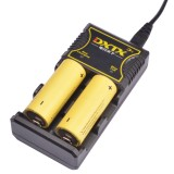 DXTX D2 220V 5V2A Dual Slot Universal Intelligent Portable USB Lithium Li-Battery Charger Compatible With Ni-MH/18650/26650/20700/21700/AA/AAA