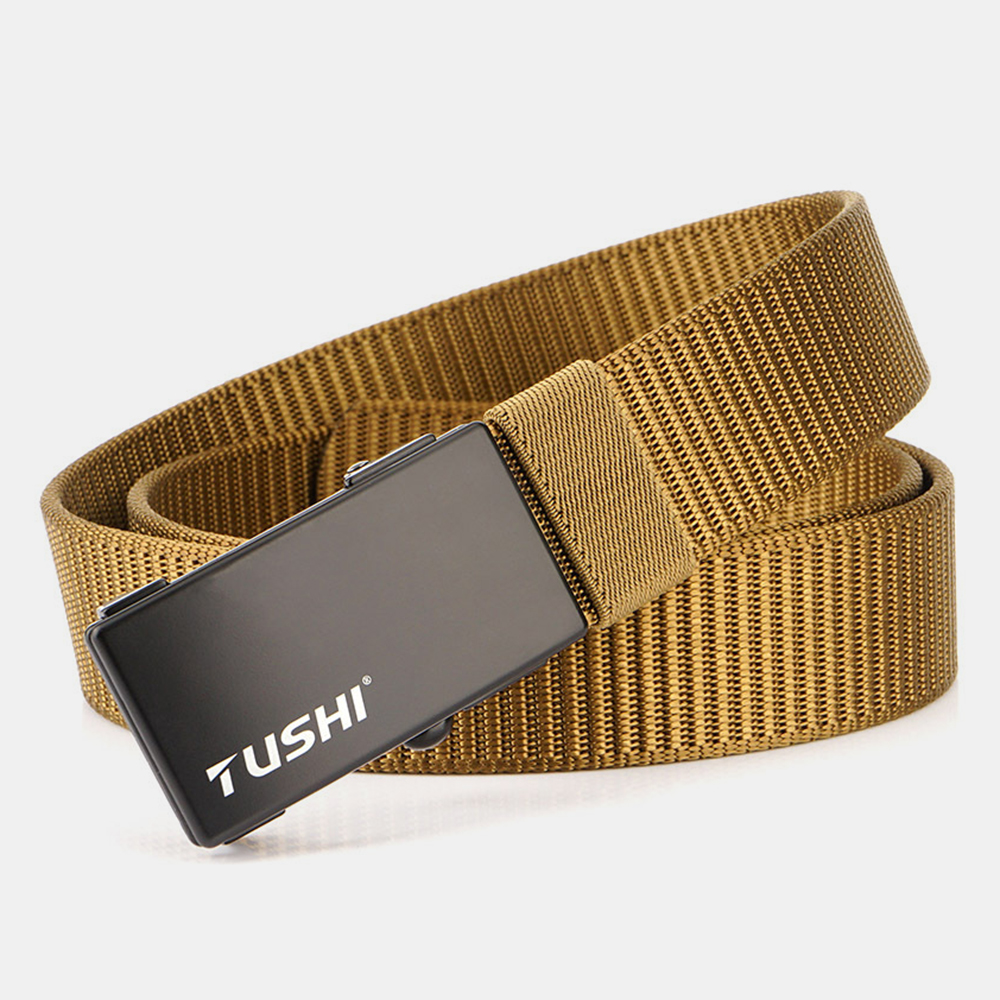 TUSHI 120CM Men's Automatic Buckle Nylon Belts Simple Belt