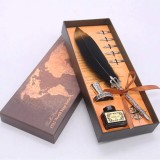 Retro Feather Quill Dip Fountain Pen Ink Set Writing functionfor Signature Signning Pen