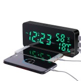 LyRay LED Mirror Mobile Phone Charger Mirror Wall Alarm Clock Snooze Sound-Control Temperature And Humidity Color Change Clock