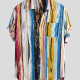 Mens Stripe Printing Graffiti Practical Pocket Short Sleeve Summer Shirts