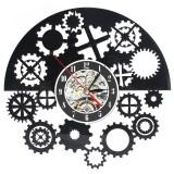 Steampunk Cog Wall Clock Gears Vinyl Record Wall Clock Home Office Decor