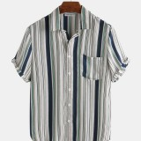 Mens Summer Stripe Practical Pocket Short Sleeve Casual Shirts