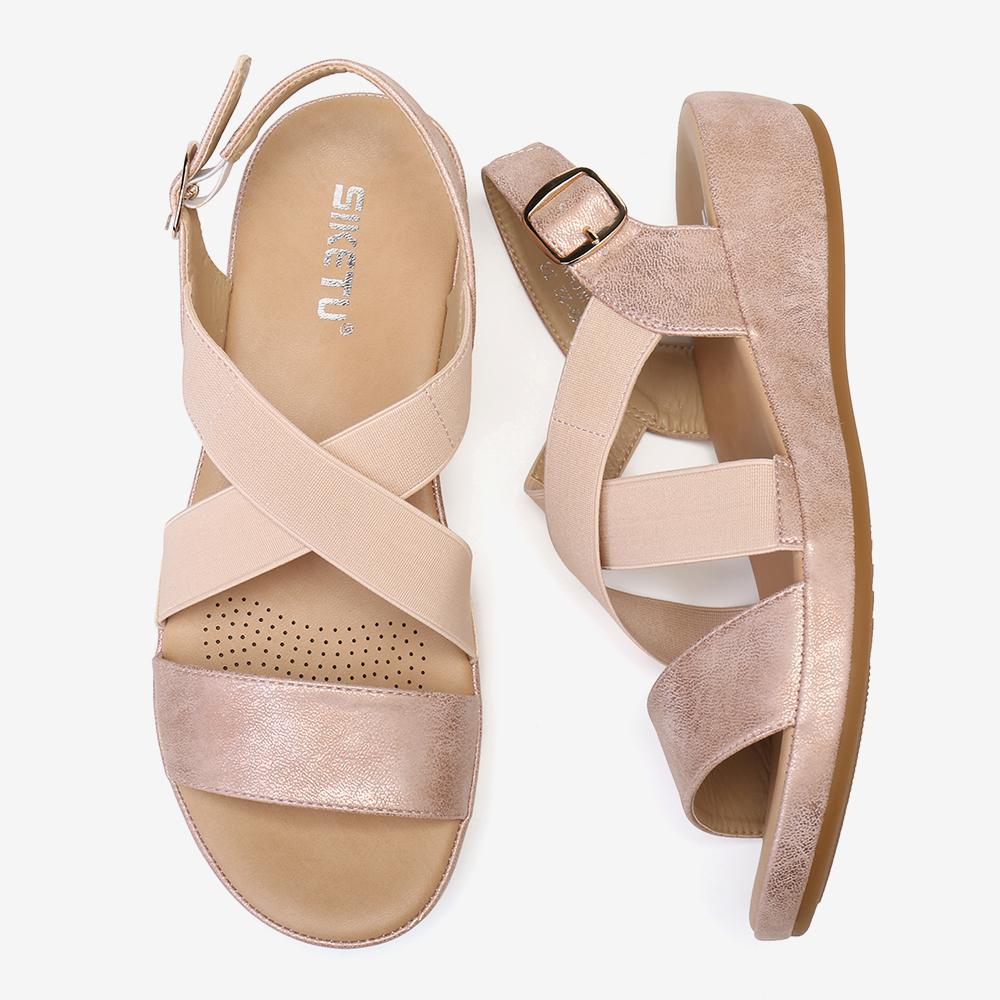 Women Elastic Band Open Toe Soft Sole Open Toe Buckle Casual Summer Beach Flat Sandals