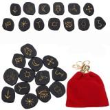13pcs Black Jasper Runes Gemstone Power Stones Rune Set Symbols Healing Crystals