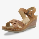 Women Hollow Out Open Toe Buckle Casual Summer Wedge Sandals