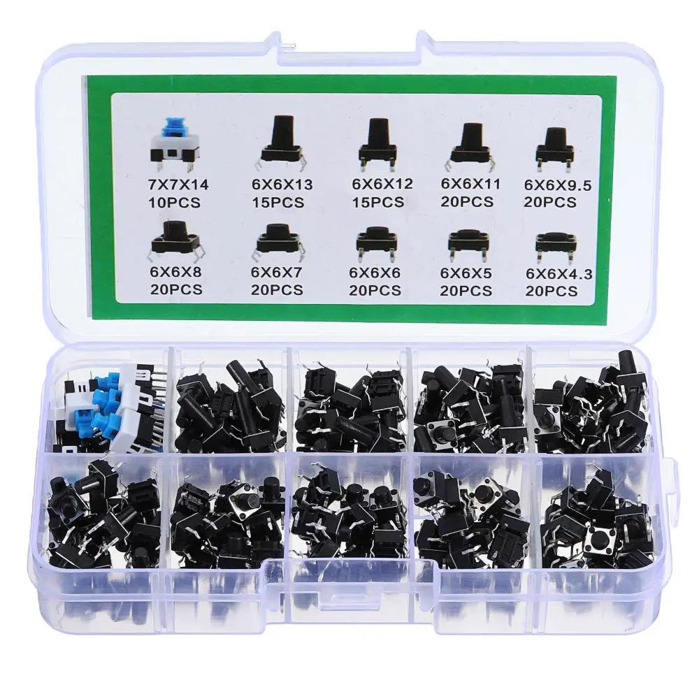 540Pcs 10 Values Tactile Push Button Switch Mini Momentary Tact Assortment Kit DIY