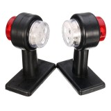 Pair LED Double Side Marker Clearance Lights Lamp Red White for 12V 24V Truck Trailer Caravan