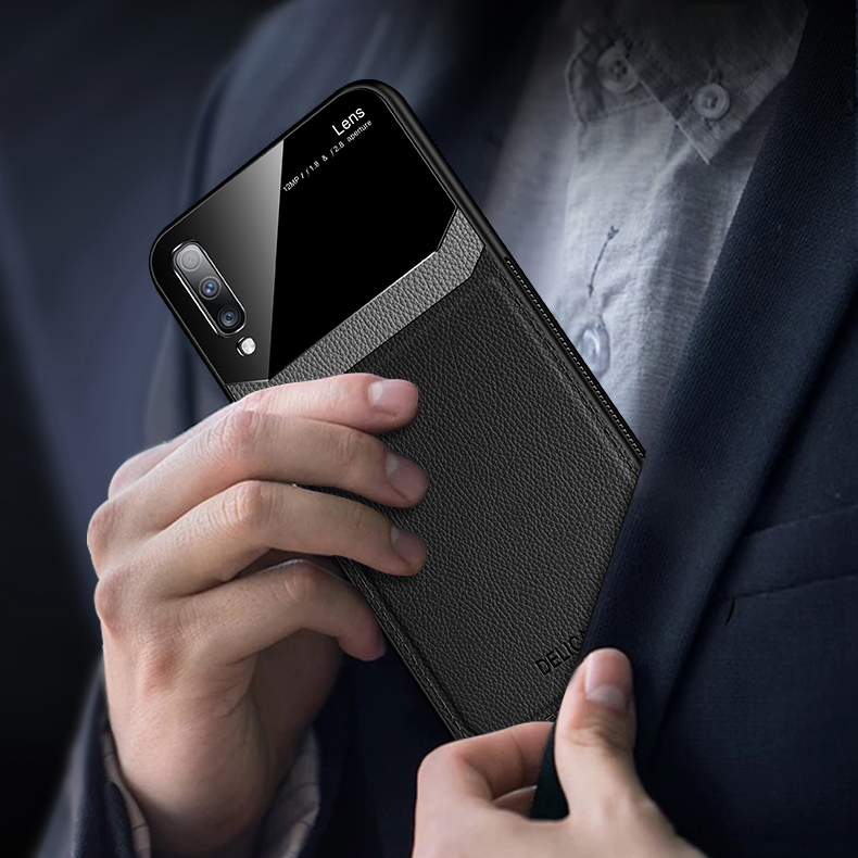 Bakeey Luxury Business PU Leather Mirror Glass Shockproof Protective Case for Samsung Galaxy Note 10 / Note 10 5G