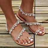 Women Bohemian Clip Toe Bead Decoration Slip On Elastic Band Casual Holiday Beach Flat Sandals