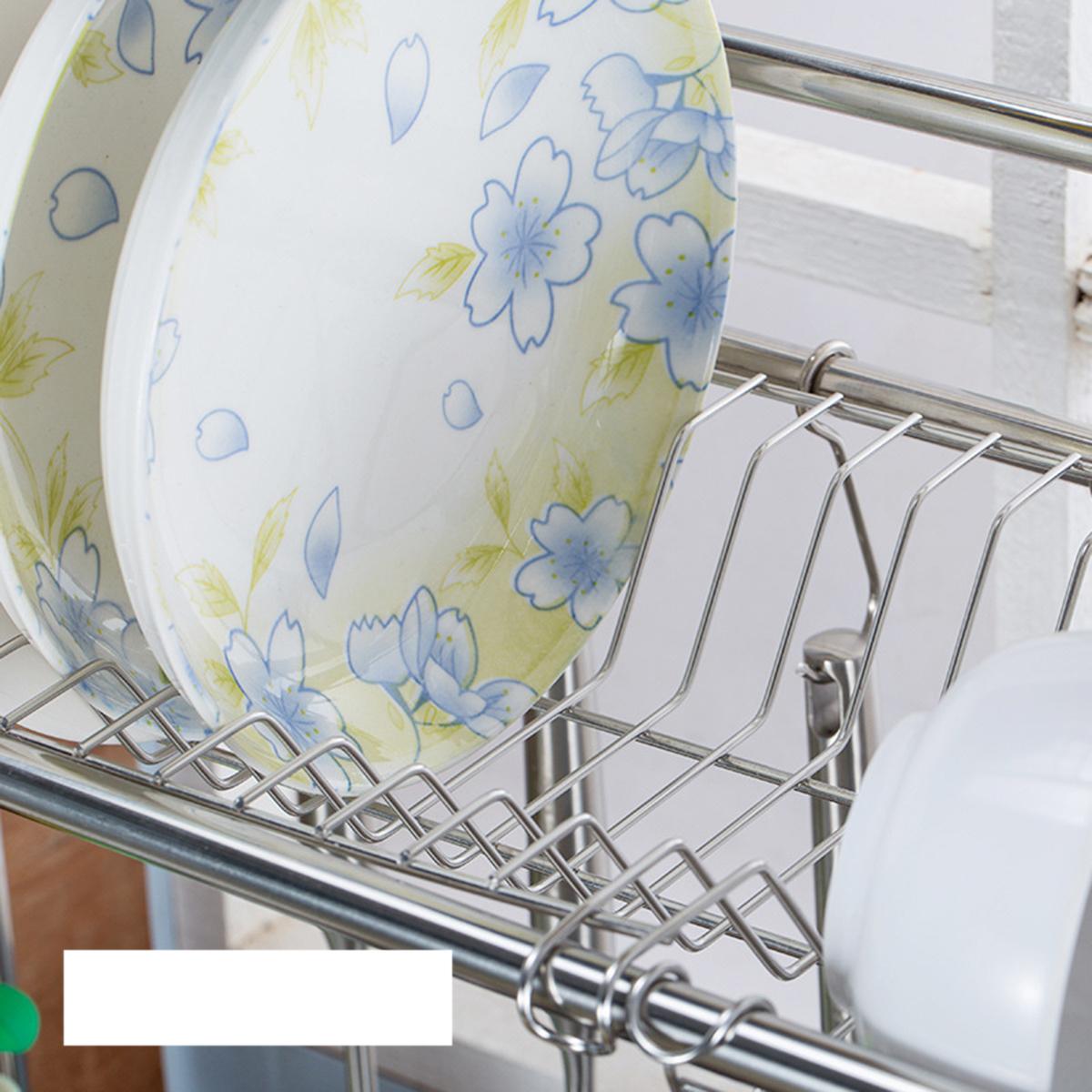 2 Tiers Stainless Steel Dishes Rack Dual Sink Drain Rack Adjustable Multi-use Kitchen Organizer Rack Dish Shelf Sink Drying Rack