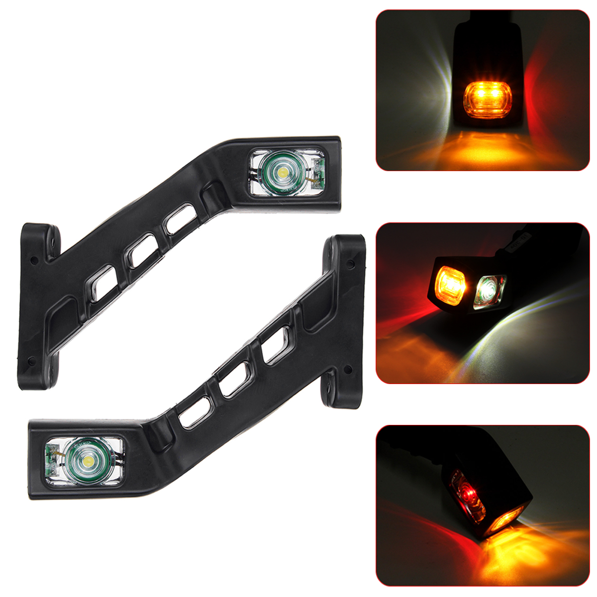 2PCS 12V 24V LED Double Side Marker Lights Stalk Indicator Lamp For Truck Trailer Lorry Carvan