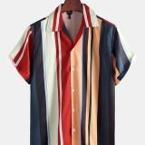 Mens Summer Multi Stripe 100% Polyester Short Sleeve Casual Shirts