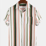 Mens Casual Stripe Breathable Short Sleeve Leisure Shirts