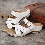 Women Hollow Out Breathable Open Toe Buckle Summer Casual Wedge Sandals
