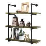 Bookshelf 3 tiers Wall Mounted Organizer Storage Shelf Rack Iron Design For Home Office Living Study Photo
