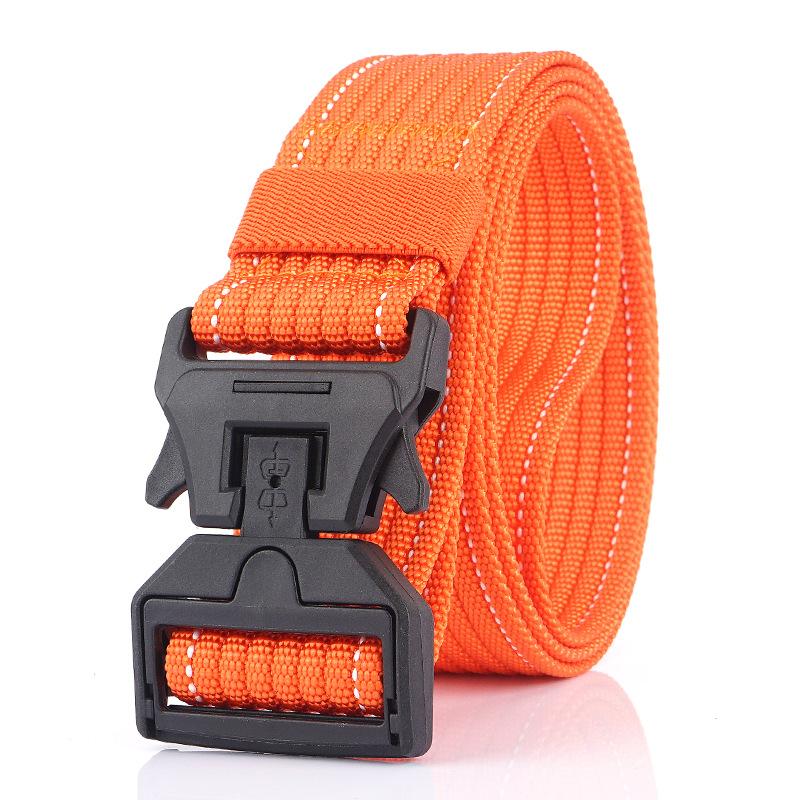 AWMN 125CM Magnetic Buckle Leisure Canvas Breathable Waist Belt Quick Unlock Belt Men's Elastic Tactical Belt