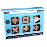 6 Pcs Set Wooden Kong Ming Lock Game Toys For Children Adults Kids IQ Brain Teaser Interlocking Puzzles English Version