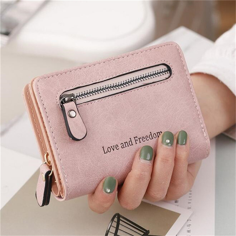 Love and Freedom Women PU Leather Zipper with Card Slots Short Phone Purse Wallet Coin Clutch Handbag