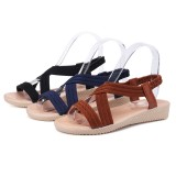 Women Cross Strap Open Toe Elastic Band Solid Color Flat Sandals