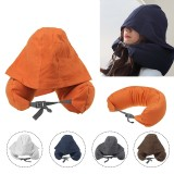 U-shaped Pillow Sleeping Nap Neck Support Cushion With Hat Travel Office Home Fitness Relaxing Pillow