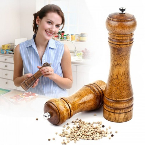 Spice Herb Pepper Grinder Wooden Cruet Mill Condiment Grinding Salt Smashing Tools