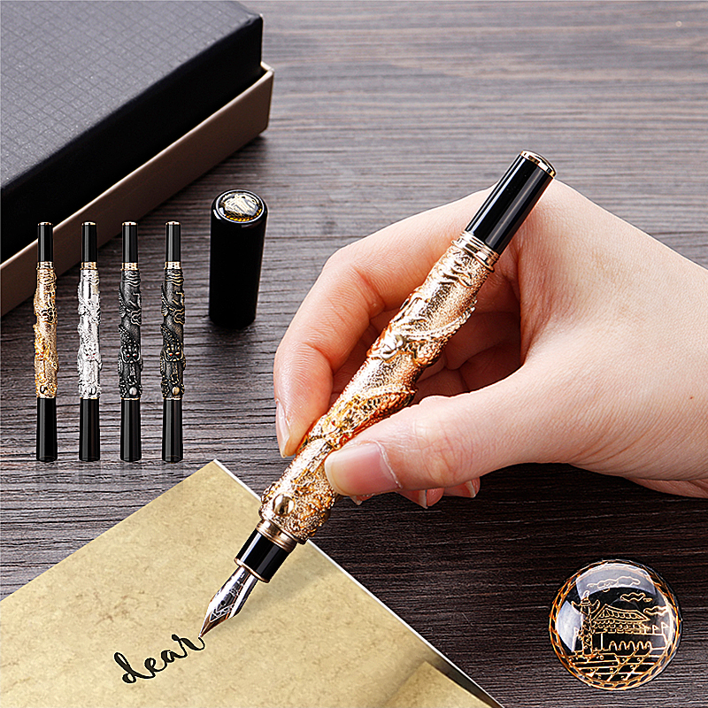 JINHAO Emboss Dragon Fountain Pen Signing Pen Writing Pens Office School Supplies Gifts for Friends Family
