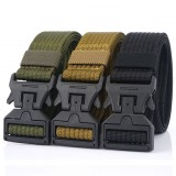AWMN 125CM Magnetic Buckle Leisure Canvas Breathable Waist Belt Quick Unlock Belt Men's Elastic Tactical Belt