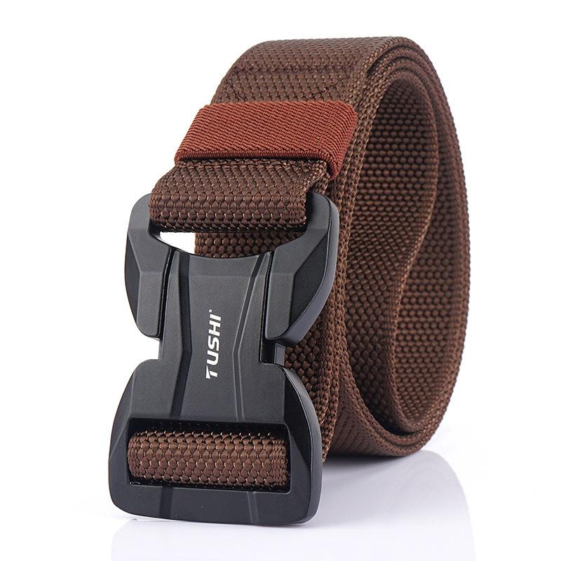 TUSHI 125CM Magnetic Buckle Leisure Canvas Breathable Waist Belt Quick Unlock Belt Men's Elastic Tactical Belt