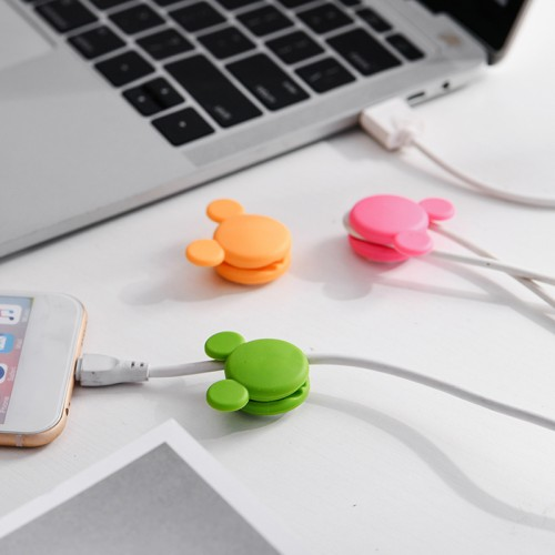 2Pcs Cute Mini Mouse Pattern Multi-function Two-way Winding Desktop Tidy Management Cable Organizer Winder for iPhone X XS Huawei Xiaomi Mi9 S10 S10+ Data Cable and Mouse Headphone Wire