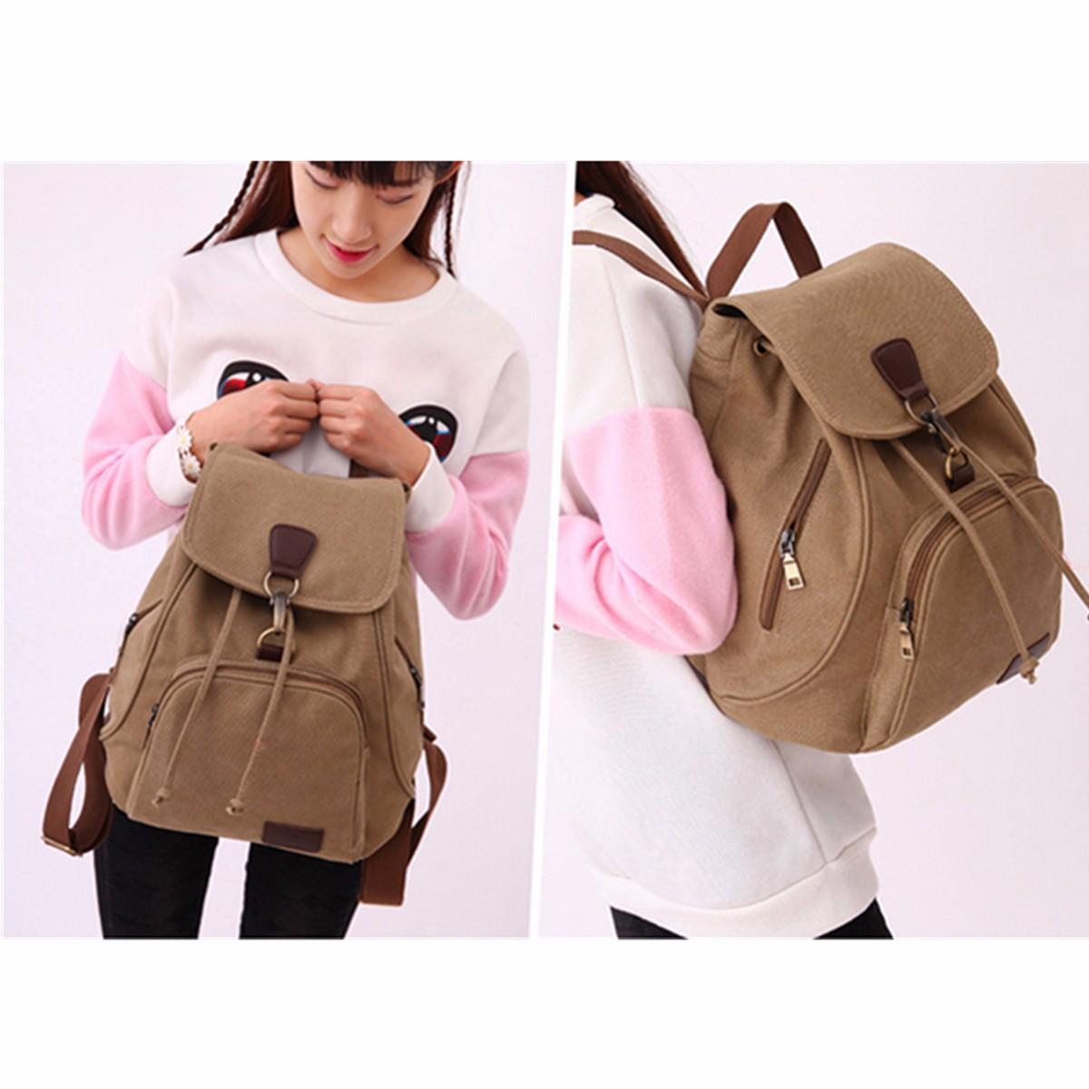 Women Men Canvas Travel Satchel Shoulder Bag Anti-theft Backpack School Rucksack Drawstring