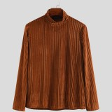 Mens Solid Color High Collar Long Sleeve Fittness Casual Shirts