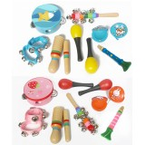 10-Piece Set Orff Musical Instruments Percussion Xylophone Set for Children