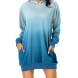 Women Long Sleeve Printed Hooded Sweatshirt Dress Pockets Pullover Tops