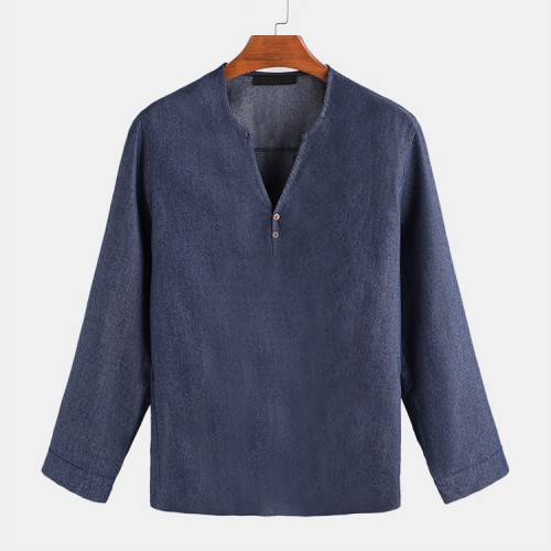 Mens Casual Blue Denim Long Sleeve V Neck Shirts
