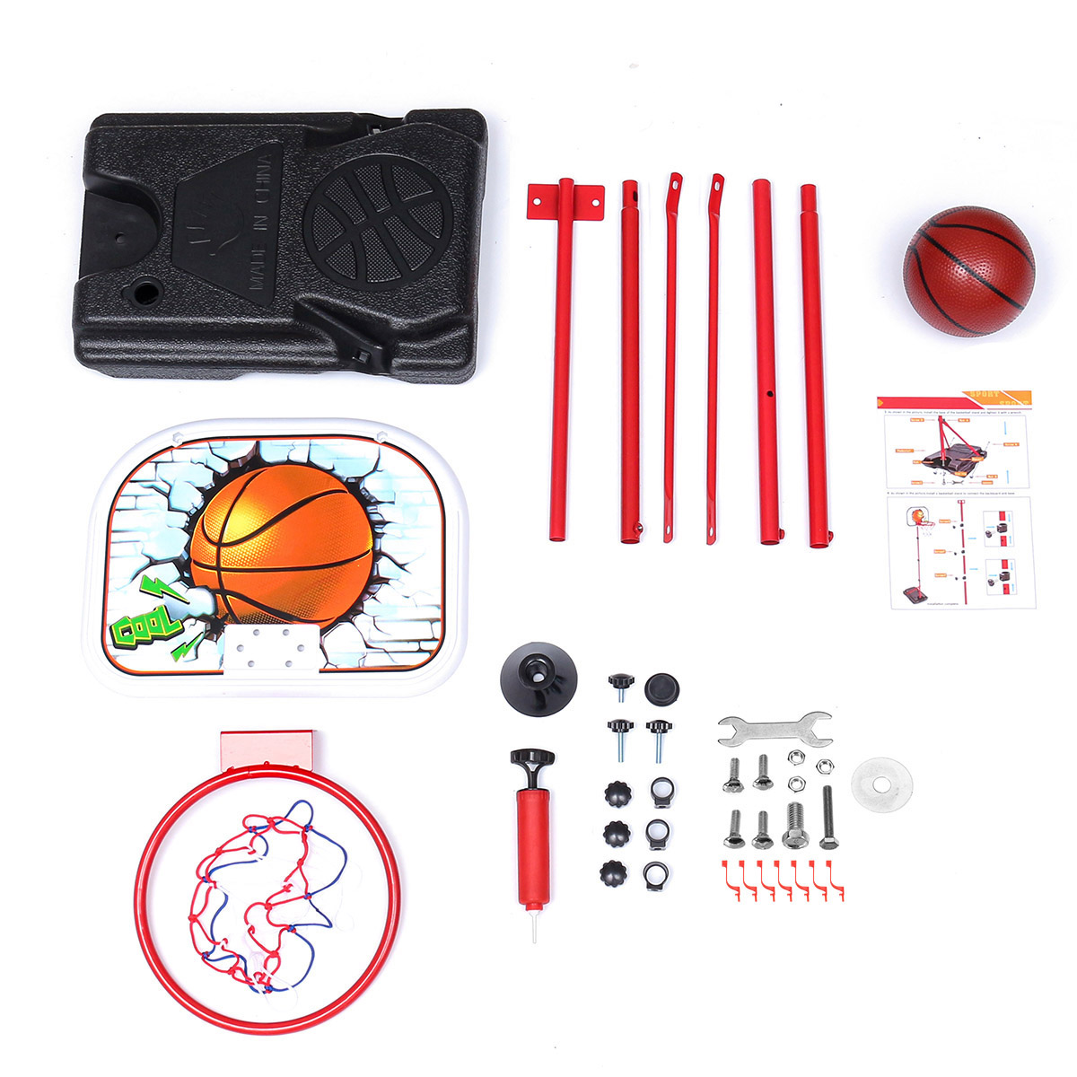 Liftable Tire Iron Frame Basketball Stand Children's Outdoor Indoor Sports Shooting Frame Toys